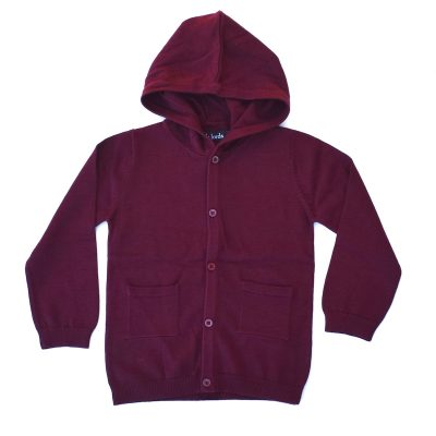Burgundy KNIT HOODLUM CARDIGAN