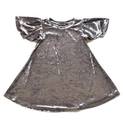 Party Dress Silver Velvet